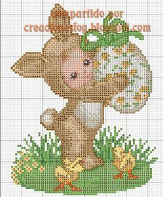 creaciones FOG: gráfico bebé disfrazado de Conejo de Pascua (punto...