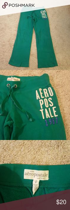 Aeropostale Sweatpants Green Aeropostale sweatpants. Lightly worn, no rips tears or stains, size small. Light and loose, very comfortable. Aeropostale Pants Track Pants & Joggers