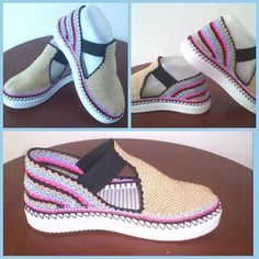 "Картинки по запросу sandalias y zapatos tejidos a crochet ""This post was discovered by Don"" Crochet Wool, Knitted Slippers, Slipper Socks, Crochet Slippers, Love Crochet, Crochet Girls, How To Make Slippers, Crochet Bikini Top, Shoe Pattern"