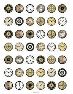Vintage Clock Faces 1 inch Round