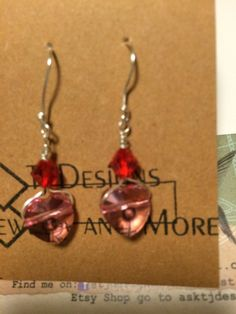 Fine SilverPink and Red Swarovski by asktjdesigns on Etsy