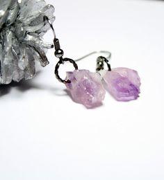 Raw Amethyst Druzy Original Jewelry Purple Lilac by Allybeans (pretty)