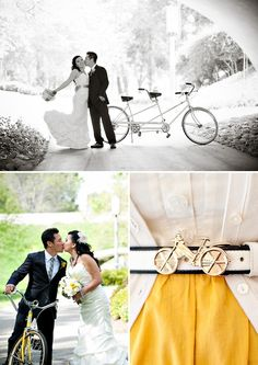 Beautiful B/W wedding photo of bride and groom with tandem bike.