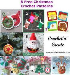 8 Free Christmas ornaments crochet patterns http://crochetncreate.com/8-free-christmas-ornaments-crochet-pattern-round/ #crochetncreate