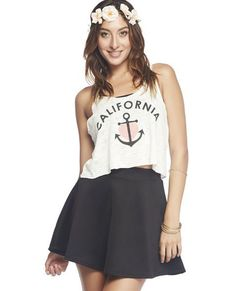 skater skirt with anchor top (would look great with a leather jacket and minus the flower crown)