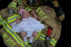 Firefighter baby girl by onapedestalphoto.