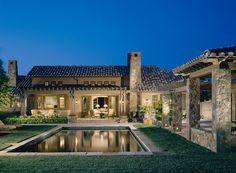 spanish backyard with pool
