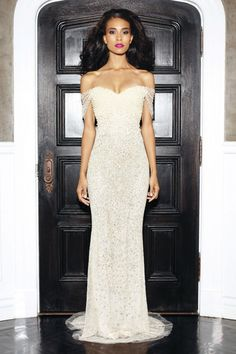 Lorena Sarbu - CREAM EMBROIDERED COLUMN GOWN W/DRAPED TULLE SLEEVES AND PEARL DETAIL