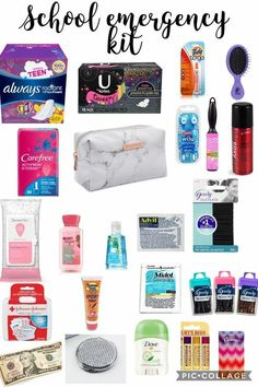 Back to school emergency kit for girls. School supplies tip for keeping in their locker or gym bag.This is for girls NOT BOYS tell me if a boy does try this. Back To School Tips For Middle SchoolThis is for girls NOT BOYS tell me if a boy does try thisA L Middle School Supplies, Middle School Hacks, High School Hacks, Life Hacks For School, School Study Tips, Diy School Supplies, School Supplies Highschool, Back To School Highschool, College Hacks