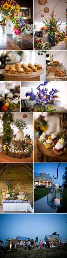 Love the log cake plate and the cup cakes. I also adore the jugs and jars for the wild flower arrangements.