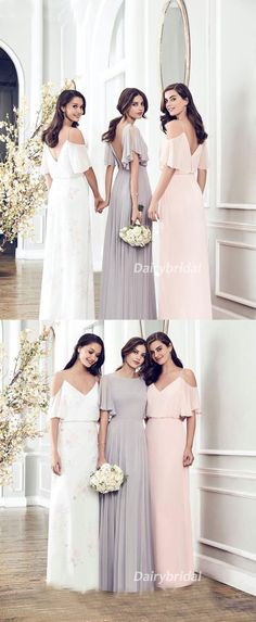 Mismatched A-Line Chiffon Bridesmaid Dress, Cheap V-Back Bridesmaid Dress, D597