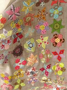 so neat! paper pieced hexies and diamonds