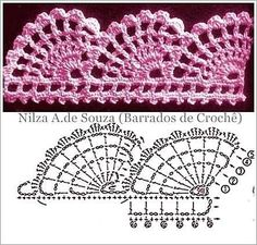 Granny Square Runner Pattern Diagram and Inspiration ⋆ Crochet Kingdom Granny Square Runner Pattern Diagram and Inspiration ⋆ Crochet Kingdom Knitting , lace processing is probably the most b. Crochet Boarders, Crochet Edging Patterns, Crochet Lace Edging, Crochet Chart, Filet Crochet, Crochet Designs, Crochet Doilies, Crochet Flowers, Knitting Patterns
