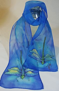 Blue silk dragonfly scarf with ethereal dragonflies. This is a lovely piece to wear- it will float around your neck (or hat or hair?) Made-to-order,