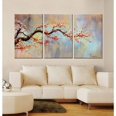 Modern 100 Hand Painted Flower Oil Painting On Canvas Orange Plum Blossom 3 Piece Gallery Wrapped Framed Wall Art Ready To Hang For Living Room For Wall Decor Home Decoration - Painting Canvas Wood Frame, 3 Piece Canvas Art, Canvas Wall Art, Canvas Canvas, Canvas Size, 3 Piece Wall Art, Oil Painting Flowers, Oil Painting On Canvas, 3 Piece Painting