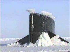 US Navy Submarine Surfacing in ice. Surprise!