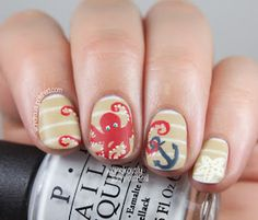 Wondrously Polished: The Beauty Buffs - Nautical/Beach Trend Nail Art
