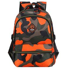 Macbag School Backpack Casual Daypack Travel Outdoor Camouflage Backpack for Boys and Girls (Camouflage Orange Boys Backpacks, School Backpacks, Canvas Backpack, Travel Backpack, Christmas Presents For Boys, Camouflage Backpack, Waterproof Fabric, Boy Or Girl, Fashion Brands
