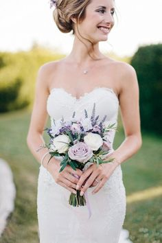 lavender and white bridal bouquet | Image by M and J Photography