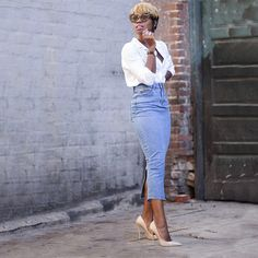 """These 5 Outfits Will Make You Want To Upgrade Your Pencil Skirt #refinery29  http://www.refinery29.com/alternative-pencil-skirts#slide4  Enocha Tellus dubbed this sleek number """"the best denim pencil skirt in the world."""" And, dare we say, it's giving mom jeans a run for their money."""