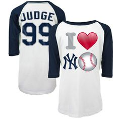 Aaron Judge New York Yankees 5th   Ocean by New Era Girls Youth Emoji Love  Player Name   Number 3 4-Sleeve Raglan T-Shirt - White Navy 7e913920a