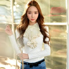 dabuwawa elegant ruffled bow blouse 2016-in T-Shirts from Women's Clothing &…