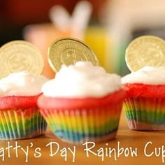 St. Patty's day rainbow cupcakes.  These also would be super cute w/ green cupcakes, green sprinkles & frosting w/ the gold coins!