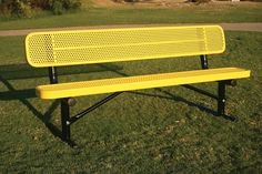 """Rectangular Bench with Back - Punched Steel- MyTCoat's Rectangular - Punched Steel bench features:  1/2"""" Circular Pattern Punched Steel 3/4″ x 2″ Angle Iron Outer Frame 1-1/2"""" x ¼"""" Flat Steel Inside bracing 2-3/8″ Round Tubing Frame Material 2″ x 2″ Angle Iron Frame Bracing Different mounting options: portable, surface, and in-ground Comes in 6', 8', 10' (2 - 5' sections), or 15' (2 - 7.5' sections) 1″ Round Tubing Diagonal Braces for Portable Benches"""