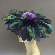 Art Deco Feather Flower Fascinator Mini Cocktail Hat Millinery