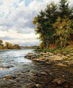Pine Trees By The River  	 Louis Aston Knight (1873 – 1948)-