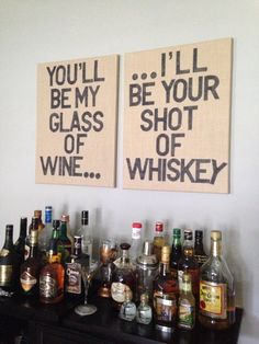 """you'll be my glass of wine, I'll be your shot of whiskey.   honeybee lyrics word art.   supplies from hobby lobby - burlap canvas, 4"""" plastic letter stencils, black permanent marker."""
