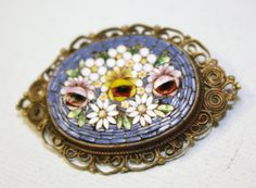 1940 Vintage jewelry | Vintage Brooch MICRO MOSAIC 1940s Jewelry by patwatty on Etsy
