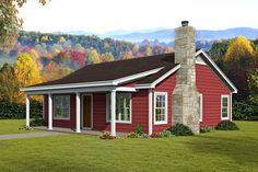 If you're looking for a small cabin Plan offers 900 sq. 2 bedrooms 1 bathroom a lovely front porch and an open floor plan. Cabin House Plans, Ranch House Plans, Best House Plans, Small House Plans, Small Barn Home, 900 Sq Ft House, Br House, House Floor, Cottage House