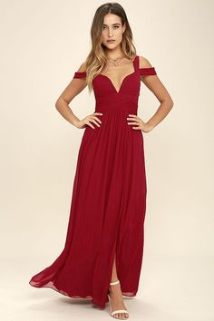 From posh prom or lavish cocktail party, and from sea to shining sea, the LULUS x Bariano Ocean of Elegance Wine Red Maxi Dress will have you in the lap of luxury wherever you may go! Deep red Georgette starts this exquisite ensemble off with tank straps joined by sheer off-the-shoulder straps that support a fitted bodice featuring a plunging sweetheart neckline with elegant ruching details. Additional ruching delicately encircles an empire waistline, while a showstopping floor-length maxi…