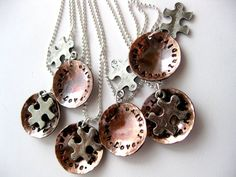 Copper Autism Awareness Puzzle Piece Charm by MetalAdornments, $25.00