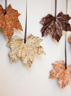 maple leaves covered with glitter