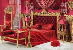 Red or White Capitone Bedroom in Gold Finish - Top and Best Classic Furniture and Classical interior Design Italian Companies