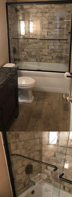Custom Wood Looking Tile Tub Surround Farmhouse Style