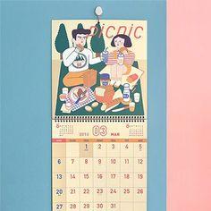 韓國正品Jamstudio可愛全彩頁2016年掛曆大日曆月曆記事日程牆曆