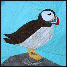 Puffin 12 Inch Foundation Paper Pieced Quilt Pattern - Puffin- A 12 Inch Paper Piecing Pattern - Paper Pieced Quilt Patterns, Quilt Block Patterns, Quilting Projects, Quilting Designs, Art Quilting, Modern Quilting, Vogel Quilt, Bird Quilt Blocks, Animal Quilts