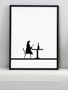 Wine Tasting Rabbit Screen Print HAM