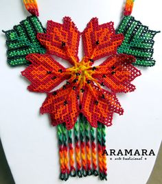 Spiritual Meaning, Native American Beadwork, Leis, Flower Necklace, Bead Art, Red Flowers, Jewelry Art, Crochet Earrings, Art Gallery