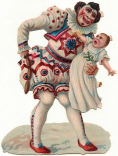 Oblaten-Glanzbilder-scrap-chromo: Trauriger Clown - um 1900 -12x9cm de.picclick.com