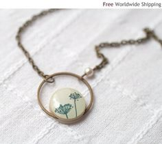 Natural History necklace - Botanical jewelry - Gift for her under 25 usd (N029)