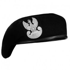 Polski Beret Wojskowy z Orłem Czarny #beret, #wojskowy, #polski, #orzeł, #czarny
