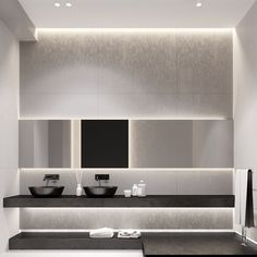 floating wall hung vanity shelf | #countertop basins || AB1 House by Igor Sirotov Architect (17)