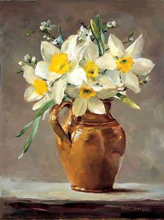 """Narcissus in a Small Brown Jug"" ~ Oil Painting by Ann Cotterill . Published by Mill House Fine Art as a Greetings Card . Oil Painting Flowers, Watercolor Flowers, Watercolor Art, Painting Still Life, Still Life Art, Still Life Flowers, Arte Sketchbook, Arte Floral, Art Abstrait"