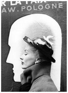 Lisa Fonssagrives is wearing a hat by Elsa Schiaparelli, photo by Richard Avedon, Harper's Bazaar, Oct.1948