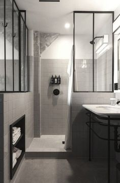 perfectuion from Commune: black and white bathroom, black metal framed glass dividers, Ace Hotel LA House Bathroom, Interior, Home, Ace Hotel, Shower Room, Small Bathroom, Modern Bathroom, Bathroom Renovation, Bathroom Inspiration