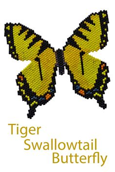"""Beaded butterfly pattern in flat free-form shape.  From the book """"A Butterfly Garden in Freeform Peyote Stitch"""" by Sheila Root"""